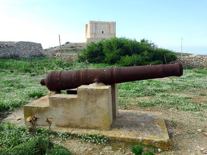 Old cannon on the island of Comino, next to St Mary's Tower
